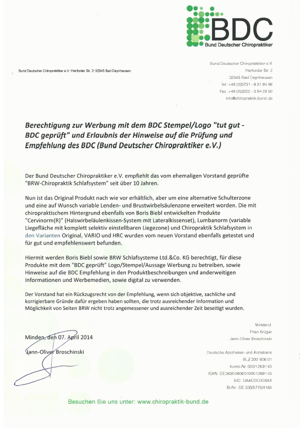 Certificate from BDC 2014 BRW Schlafsysteme